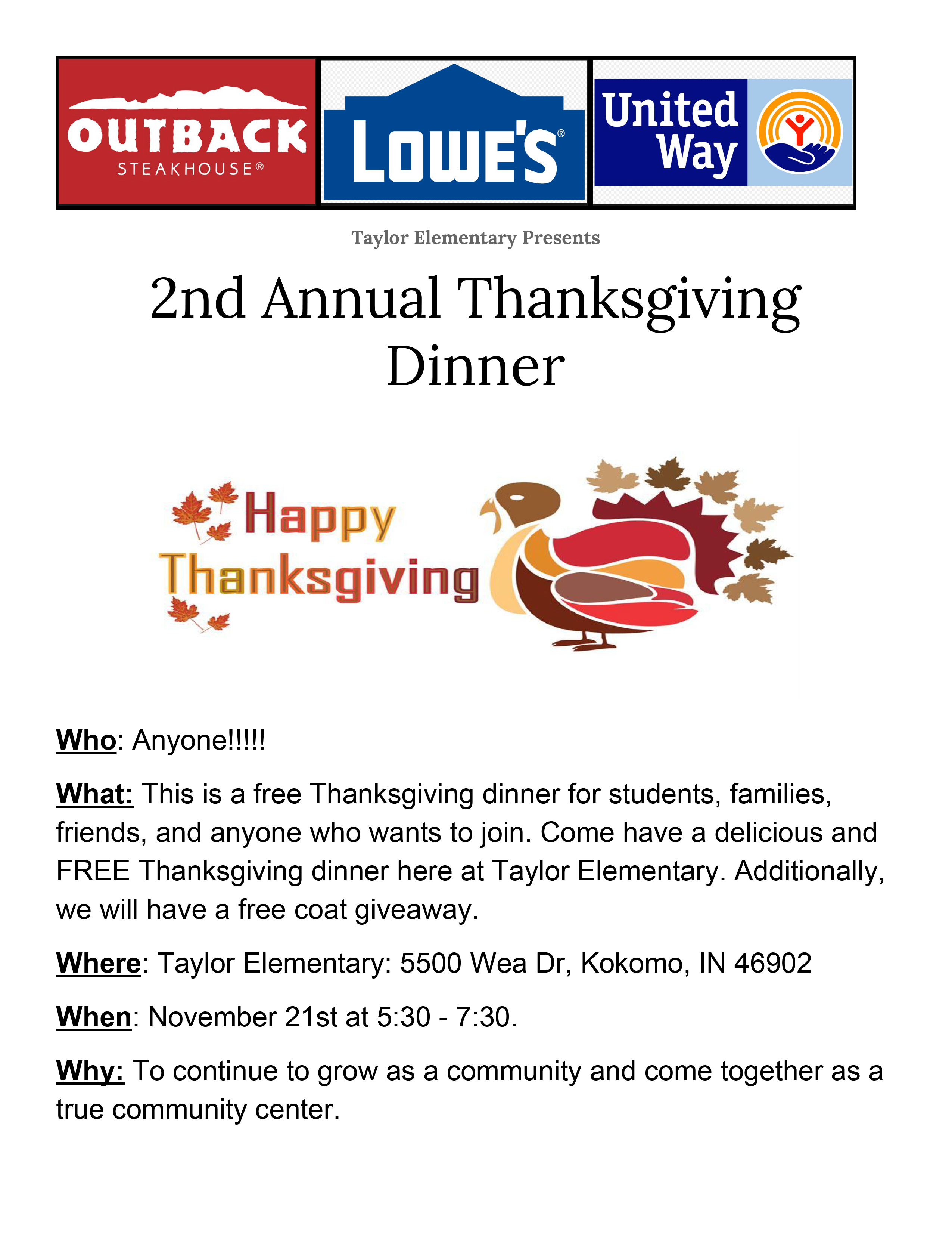 2nd Thanksgiving Flyer